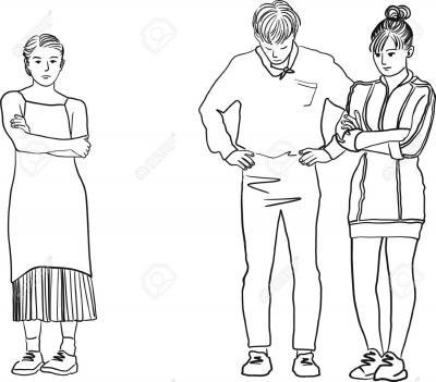 87287243 dessin d 39 un homme entre deux femmes jeunes femmes tristes debout avec les bras croises triangle amo banque d images
