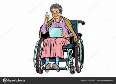 Depositphotos 172202956 stock illustration caucasian elderly woman disabled person